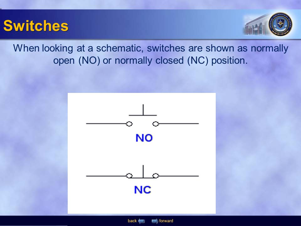 Switches When looking at a schematic, switches are shown as normally open (NO) or normally closed (NC) position.