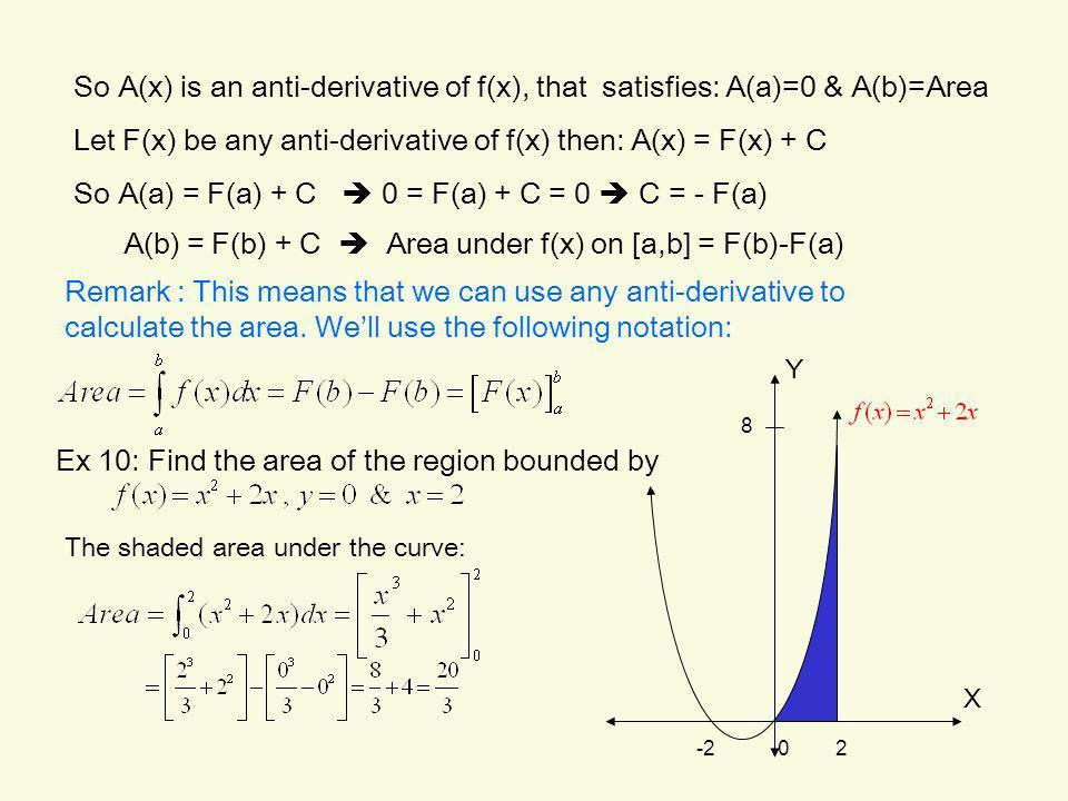 Let F(x) be any anti-derivative of f(x) then: A(x) = F(x) + C