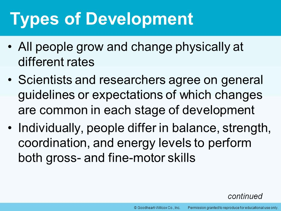 Types of Development All people grow and change physically at different rates.