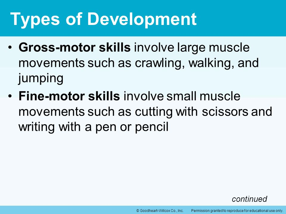Types of Development Gross-motor skills involve large muscle movements such as crawling, walking, and jumping.