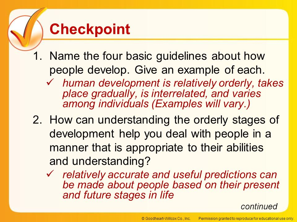 Name the four basic guidelines about how people develop