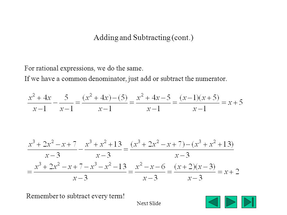Adding and Subtracting (cont.)