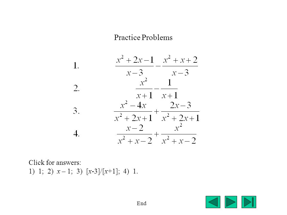 Practice Problems Click for answers: