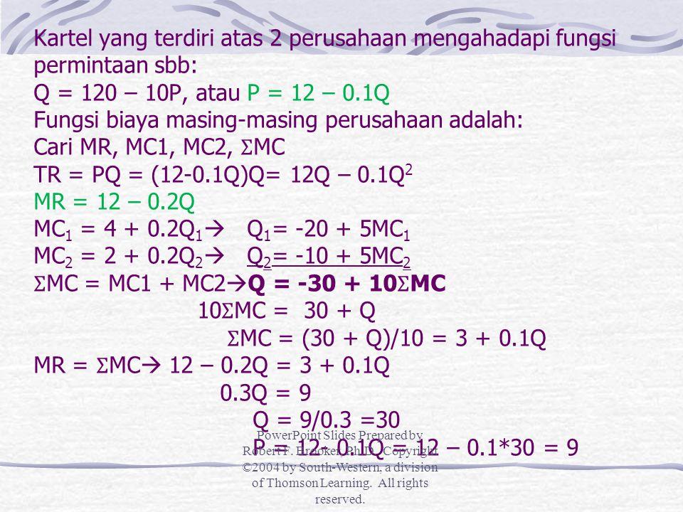 Kartel yang terdiri atas 2 perusahaan mengahadapi fungsi permintaan sbb: Q = 120 – 10P, atau P = 12 – 0.1Q Fungsi biaya masing-masing perusahaan adalah: Cari MR, MC1, MC2, ƩMC TR = PQ = (12-0.1Q)Q= 12Q – 0.1Q2 MR = 12 – 0.2Q MC1 = 4 + 0.2Q1 Q1= -20 + 5MC1 MC2 = 2 + 0.2Q2 Q2= -10 + 5MC2 ƩMC = MC1 + MC2Q = -30 + 10ƩMC 10ƩMC = 30 + Q ƩMC = (30 + Q)/10 = 3 + 0.1Q MR = ƩMC 12 – 0.2Q = 3 + 0.1Q 0.3Q = 9 Q = 9/0.3 =30 P = 12- 0.1Q = 12 – 0.1*30 = 9