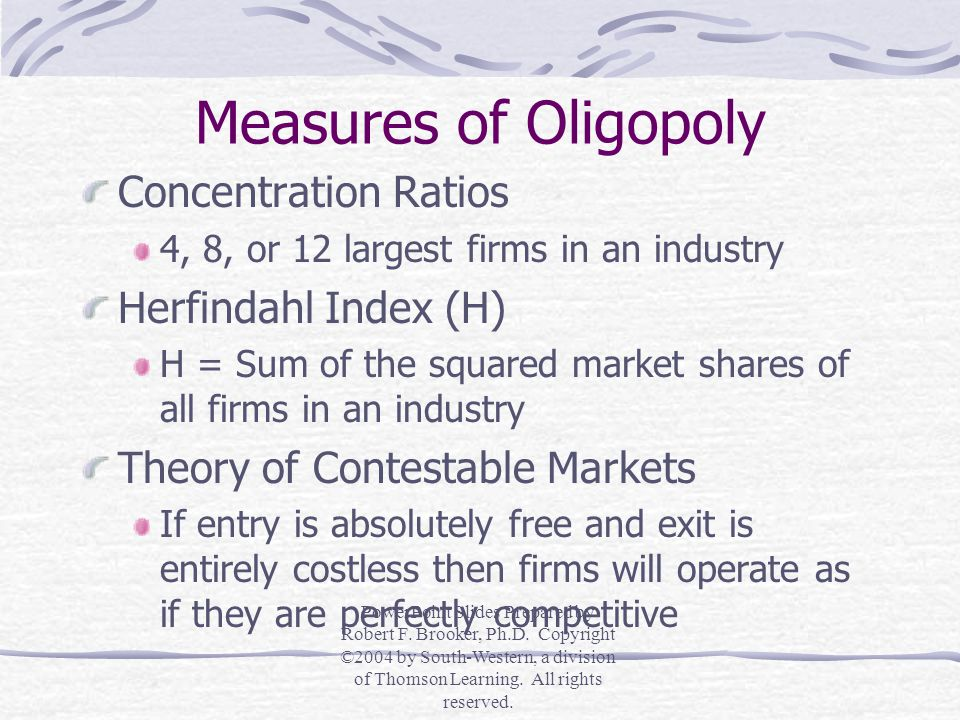Measures of Oligopoly Concentration Ratios Herfindahl Index (H)