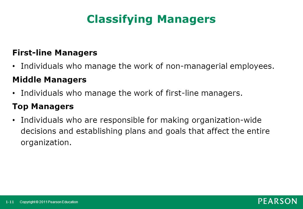 Classifying Managers First-line Managers