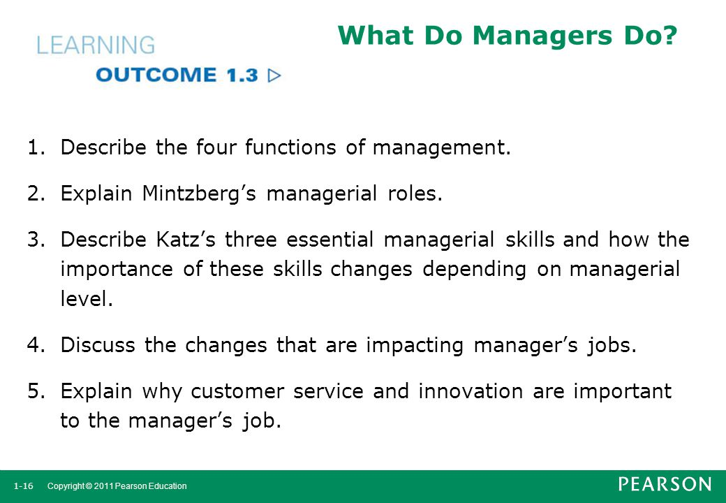What Do Managers Do Describe the four functions of management.