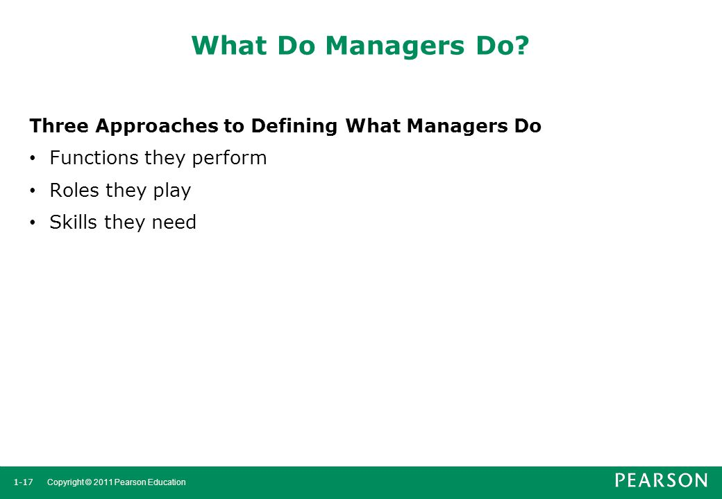 What Do Managers Do Three Approaches to Defining What Managers Do