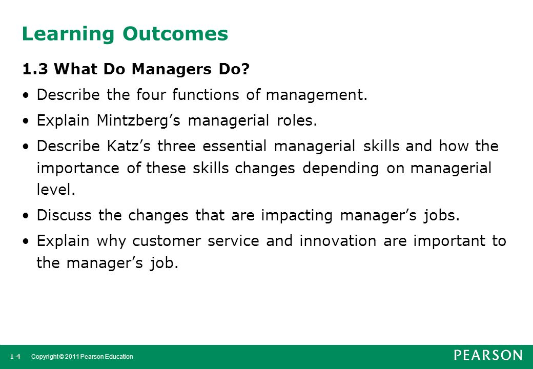 Learning Outcomes 1.3 What Do Managers Do