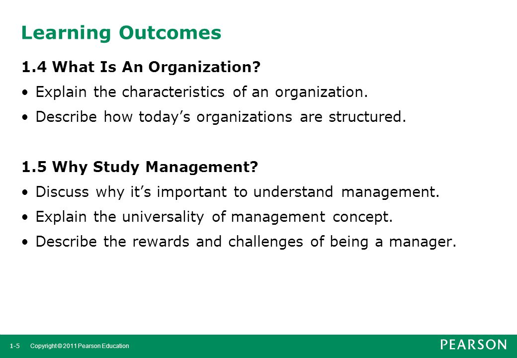 Learning Outcomes 1.4 What Is An Organization