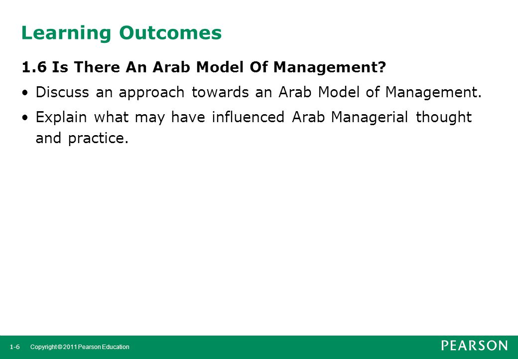 Learning Outcomes 1.6 Is There An Arab Model Of Management