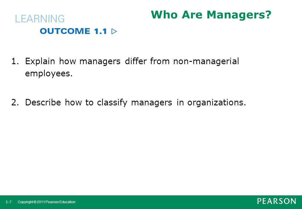 Who Are Managers. Explain how managers differ from non-managerial employees.