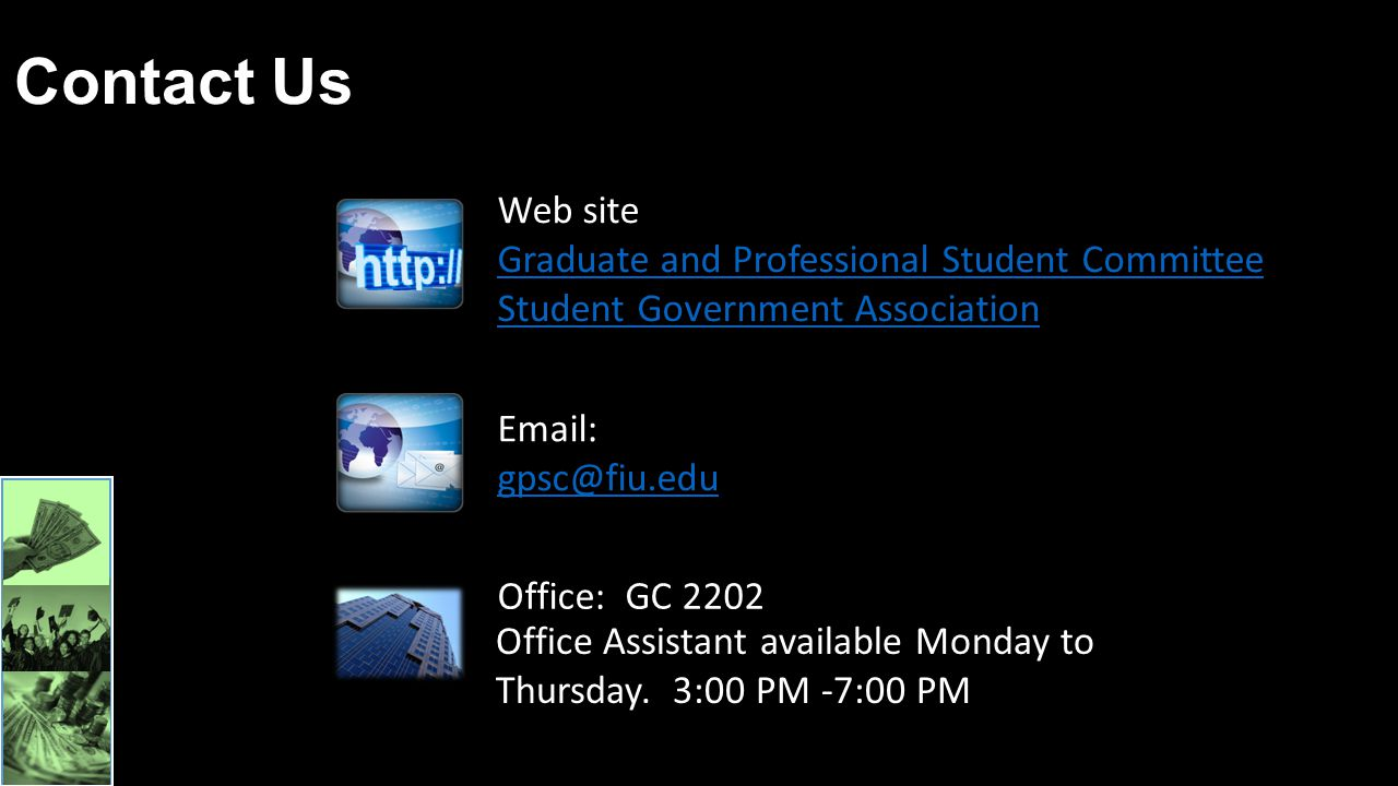 Contact Us Web site Graduate and Professional Student Committee