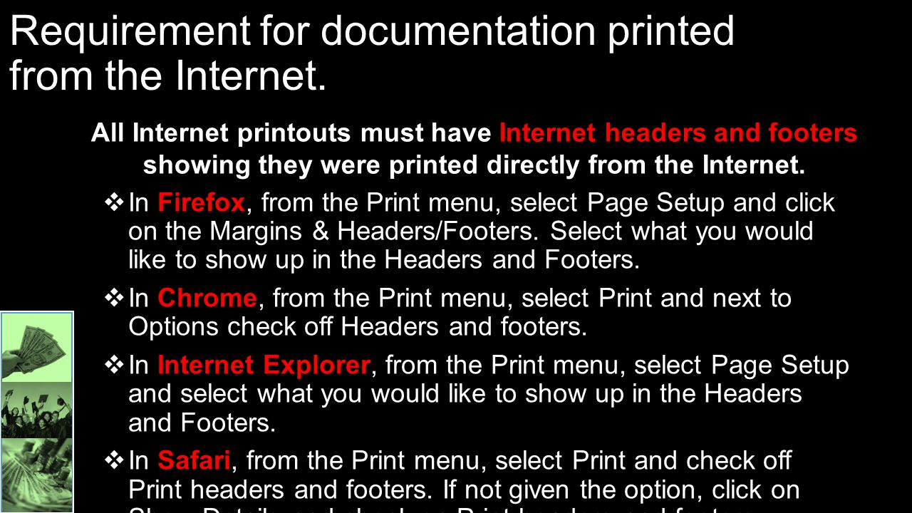 Requirement for documentation printed from the Internet.