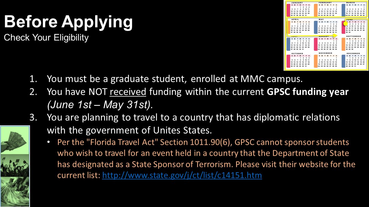 Before Applying Check Your Eligibility. You must be a graduate student, enrolled at MMC campus.