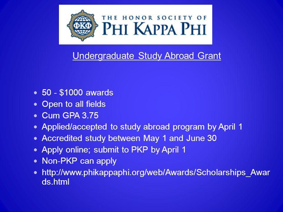 Undergraduate Study Abroad Grant
