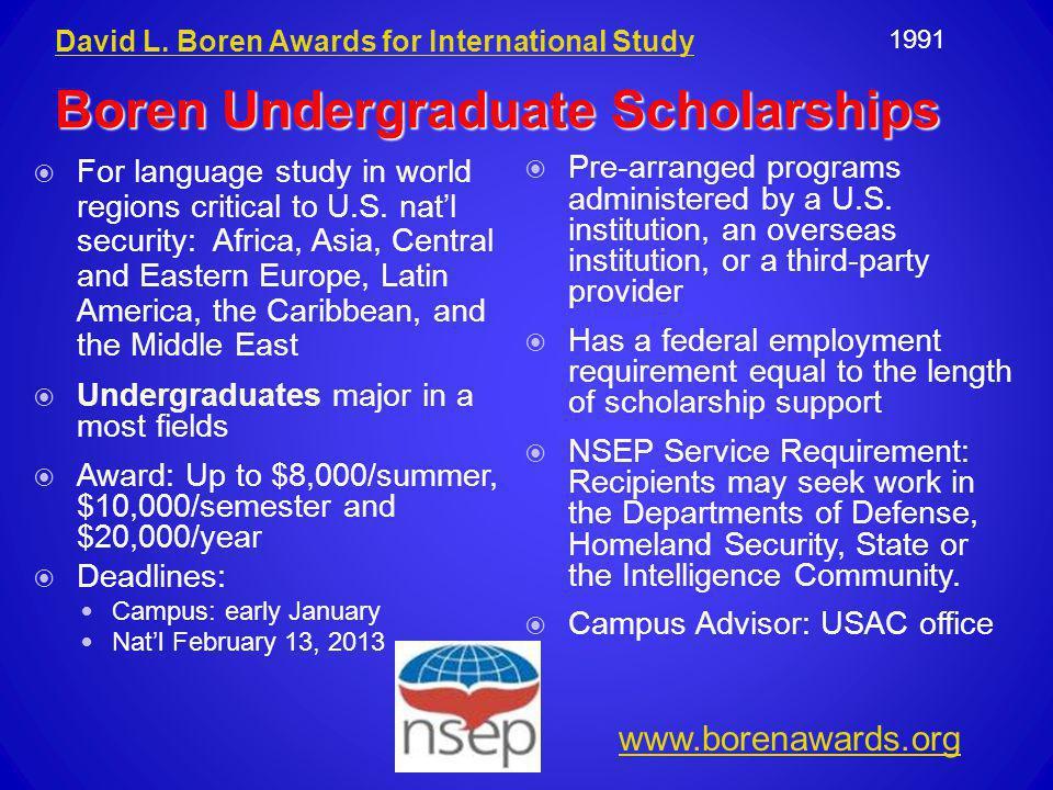 Boren Undergraduate Scholarships