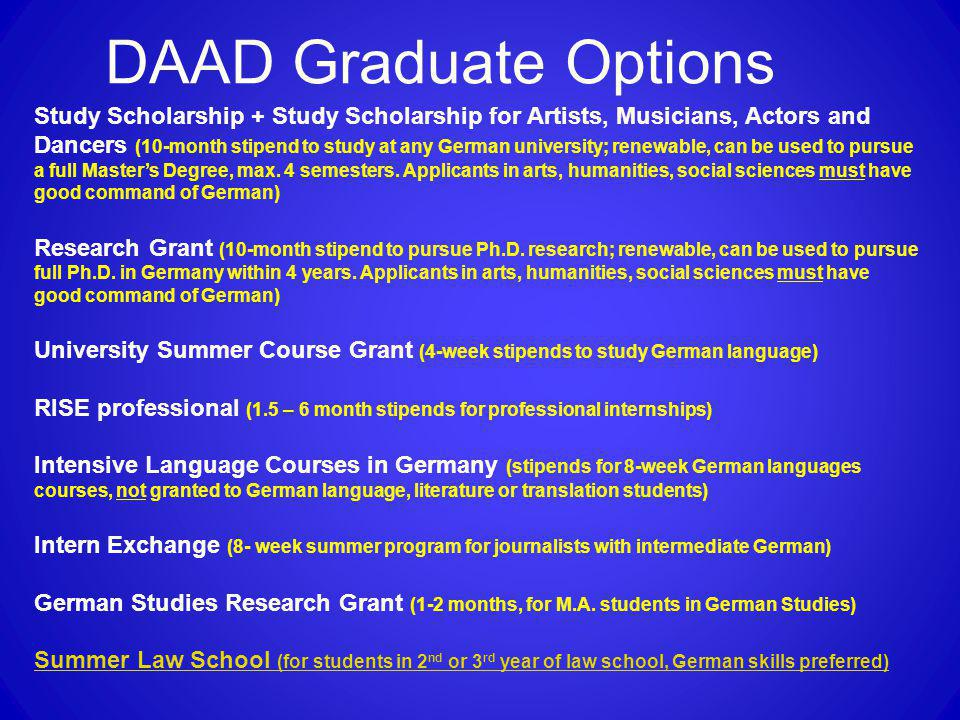 DAAD Graduate Options