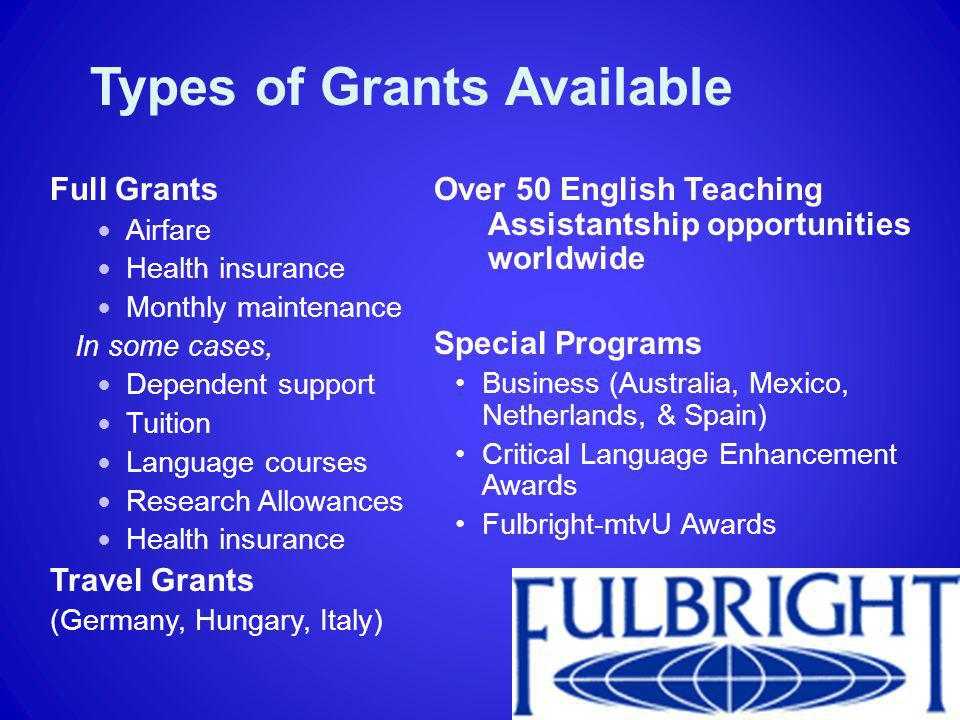 Types of Grants Available