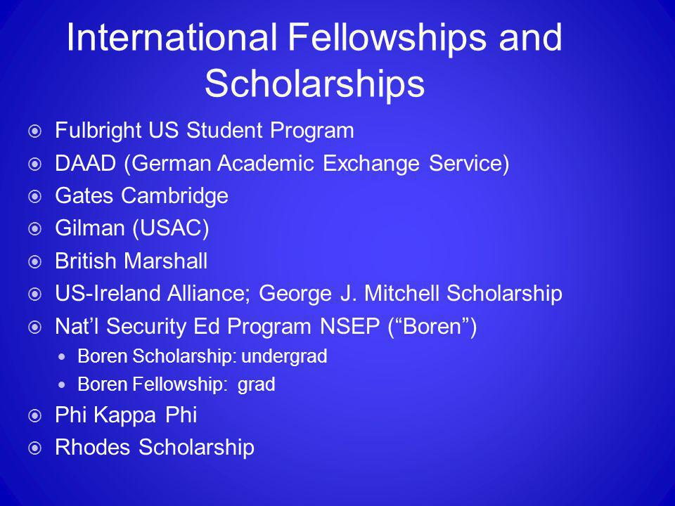 International Fellowships and Scholarships
