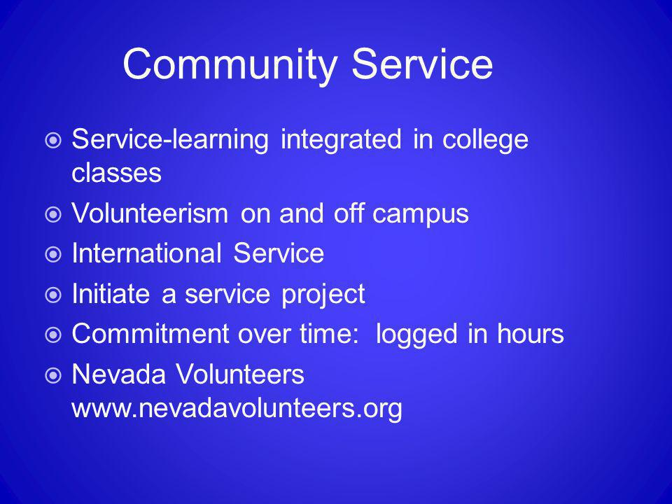 Community Service Service-learning integrated in college classes
