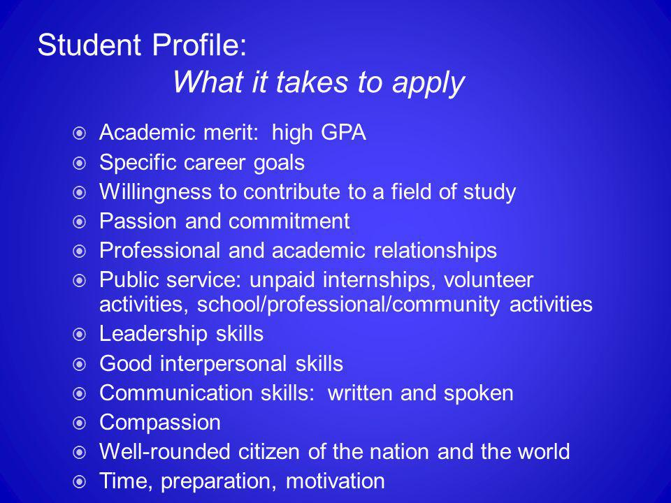 Student Profile: What it takes to apply