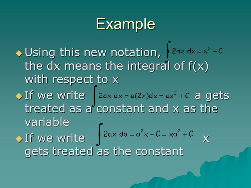 Example Using this new notation, the dx means the integral of f(x) with respect to x.
