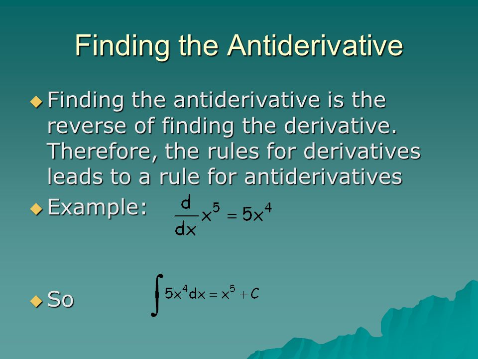 Finding the Antiderivative