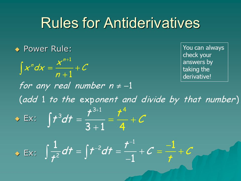 Rules for Antiderivatives
