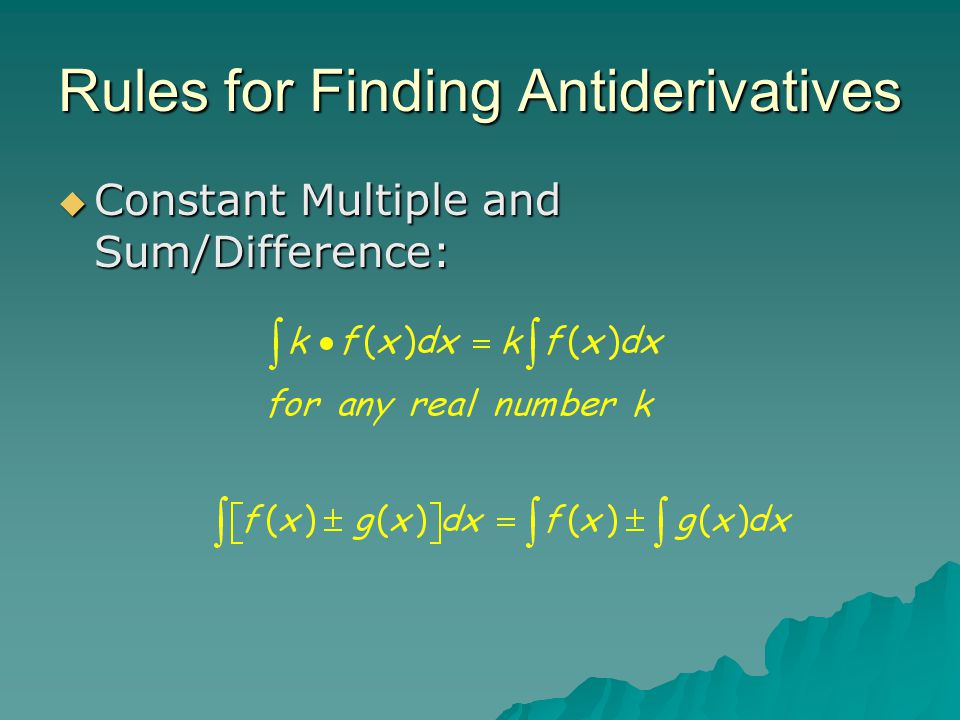 Rules for Finding Antiderivatives