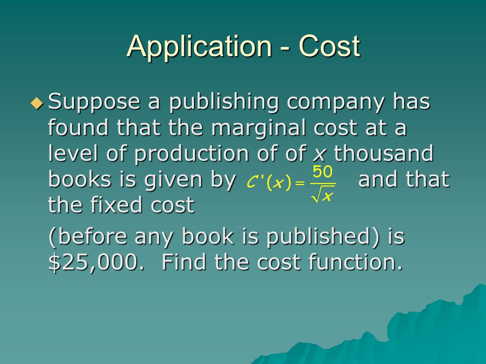 Application - Cost