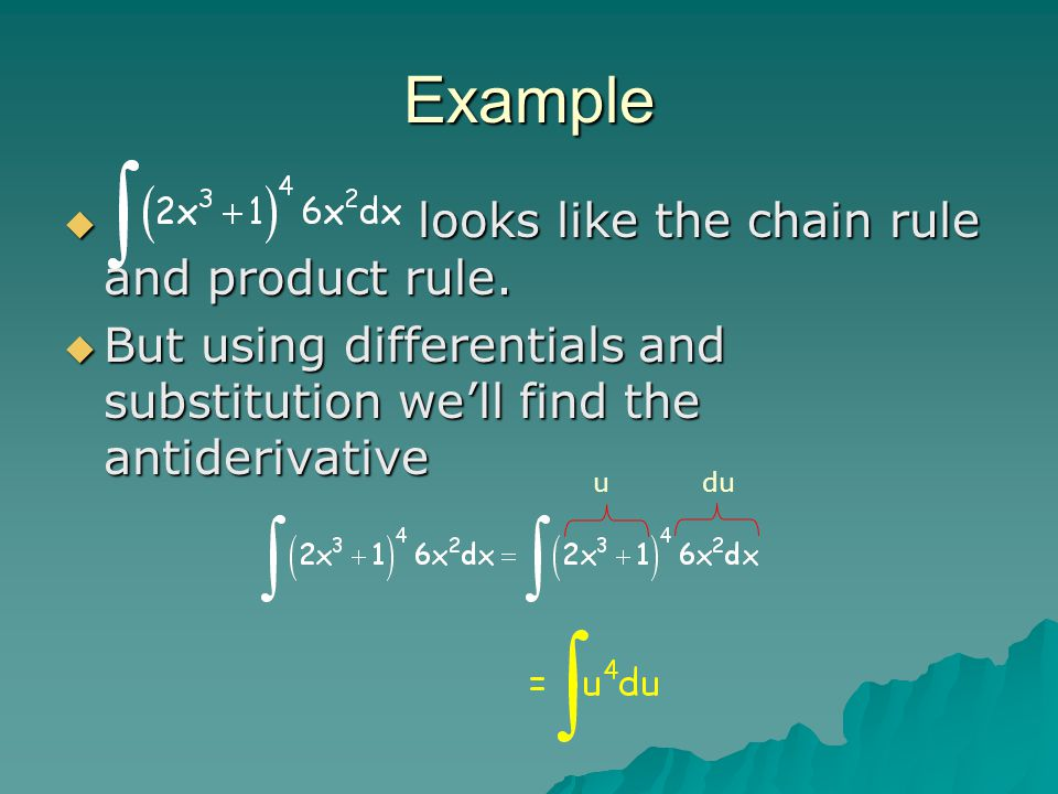 Example looks like the chain rule and product rule.