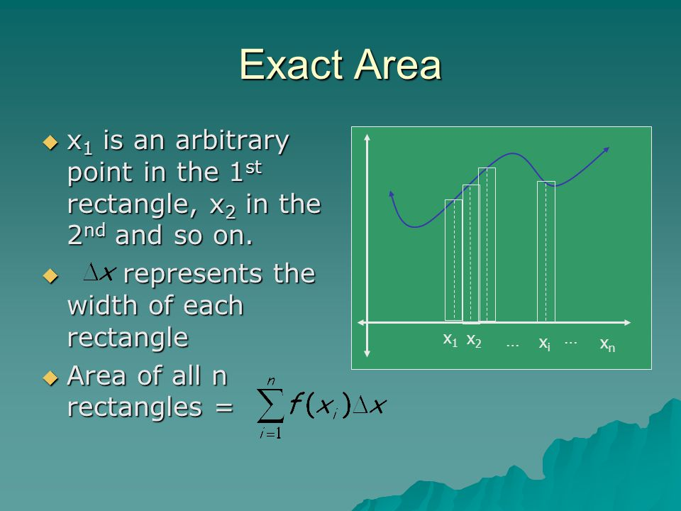 Exact Area x1 is an arbitrary point in the 1st rectangle, x2 in the 2nd and so on. represents the width of each rectangle.