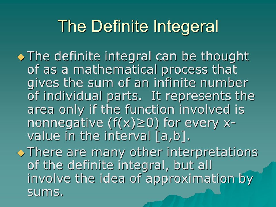 The Definite Integeral