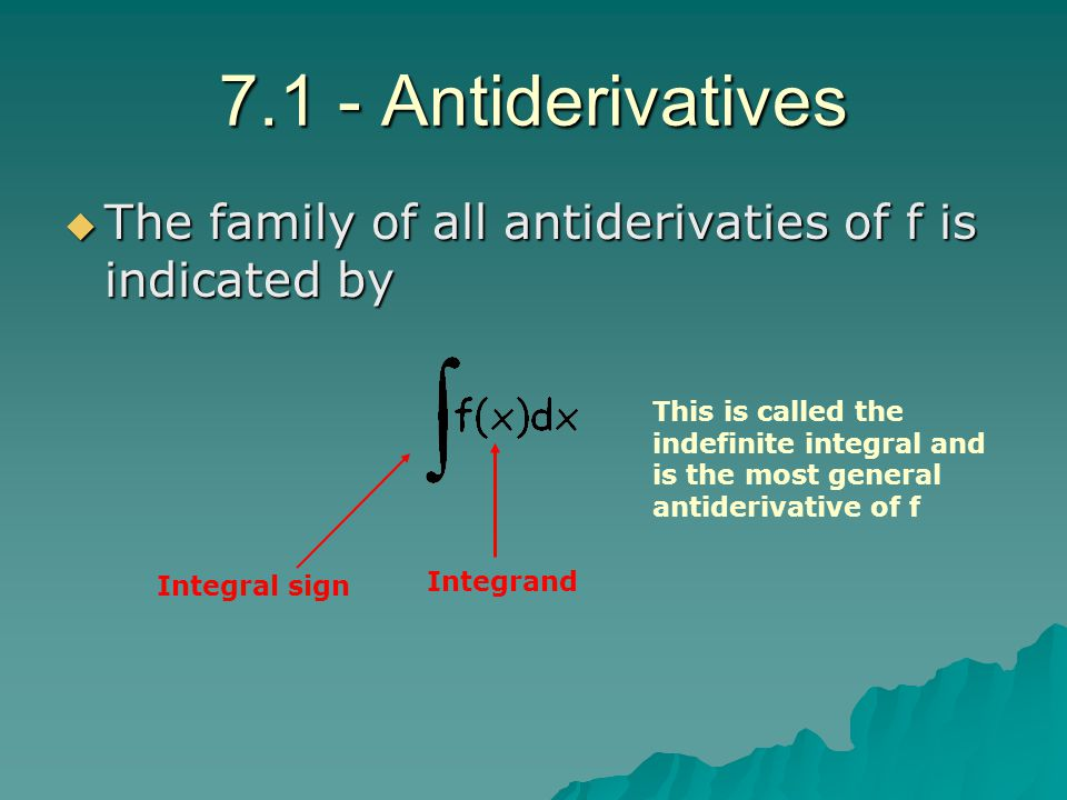 7.1 - Antiderivatives The family of all antiderivaties of f is indicated by.