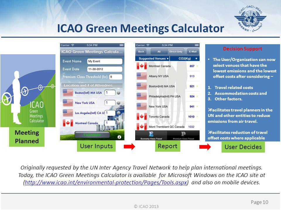 ICAO Green Meetings Calculator