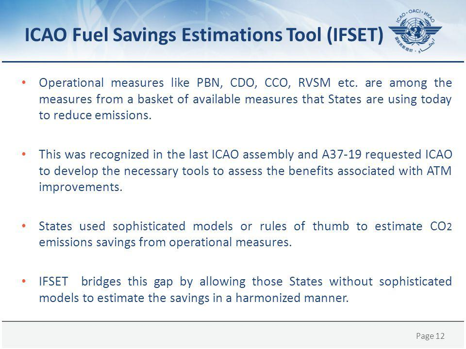 ICAO Fuel Savings Estimations Tool (IFSET)