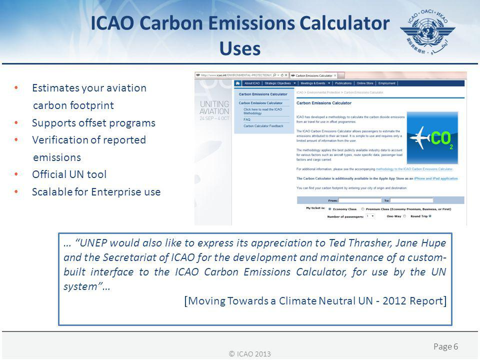 ICAO Carbon Emissions Calculator Uses
