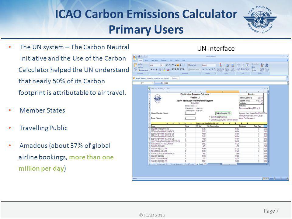 ICAO Carbon Emissions Calculator Primary Users