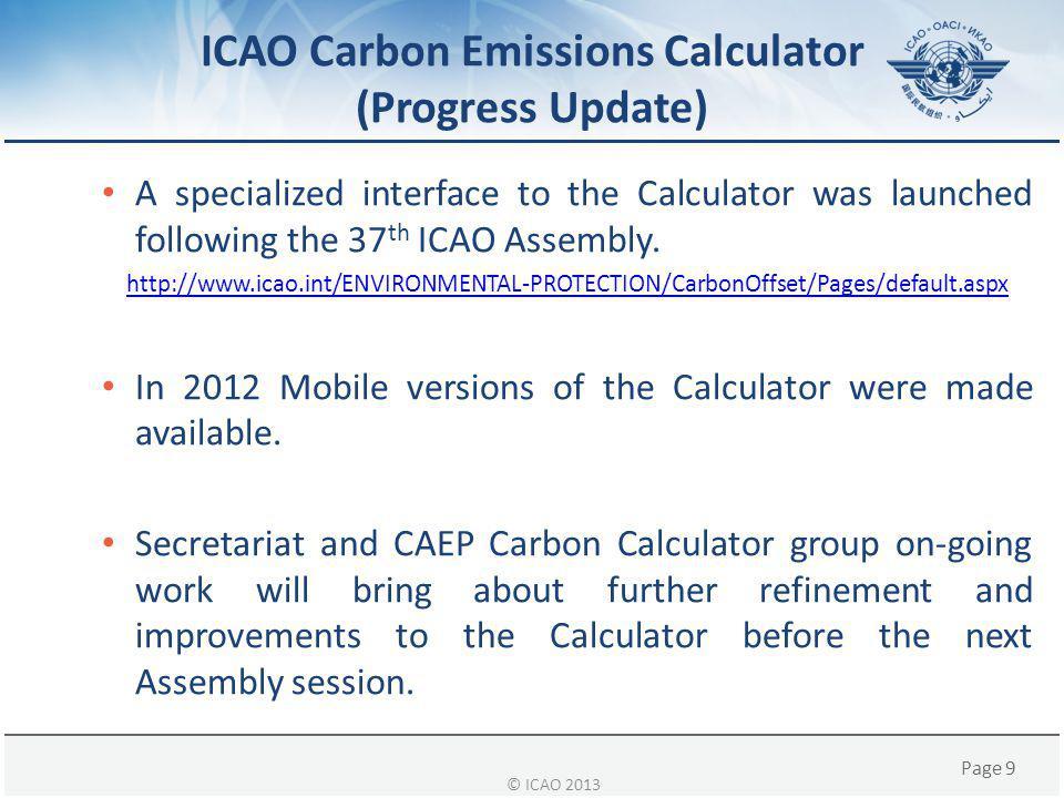 ICAO Carbon Emissions Calculator (Progress Update)