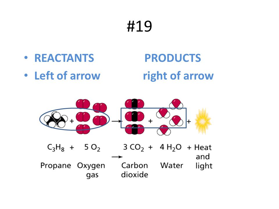 #19 REACTANTS PRODUCTS Left of arrow right of arrow