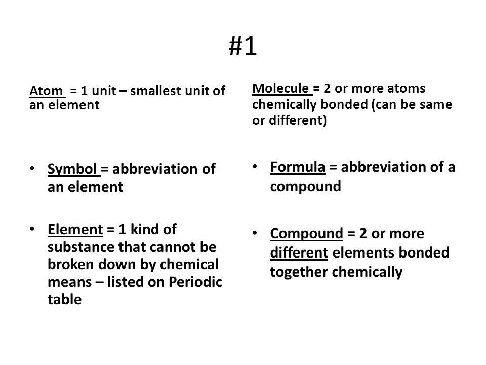 #1 Formula = abbreviation of a compound