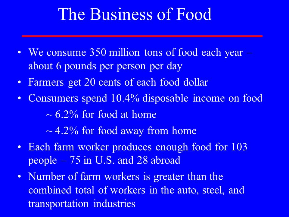The Business of Food We consume 350 million tons of food each year – about 6 pounds per person per day.