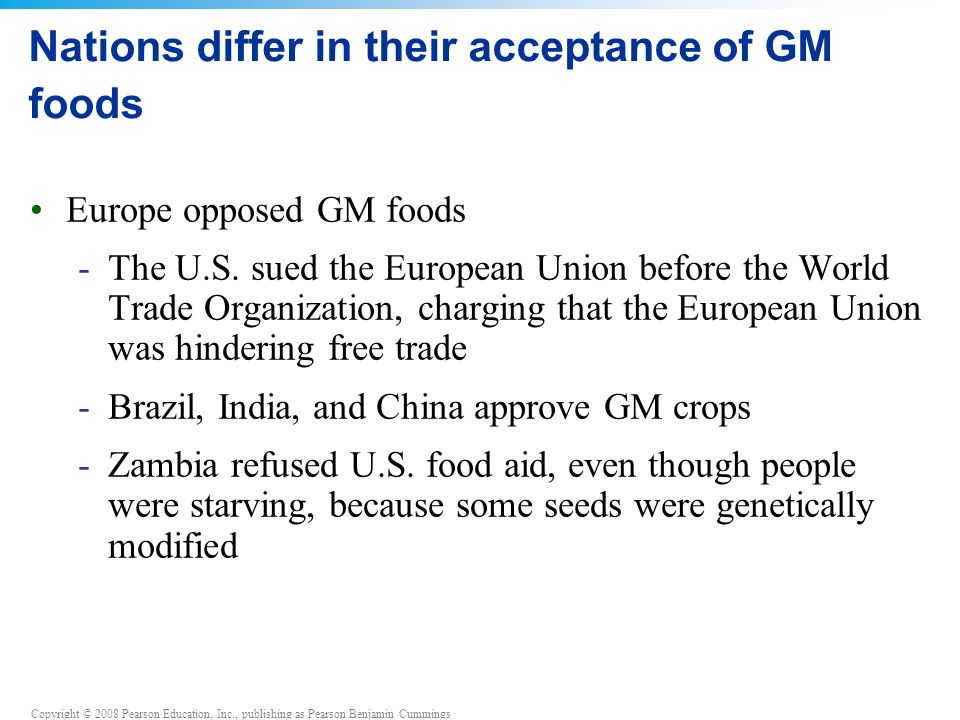 Nations differ in their acceptance of GM foods