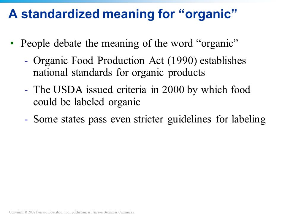 A standardized meaning for organic