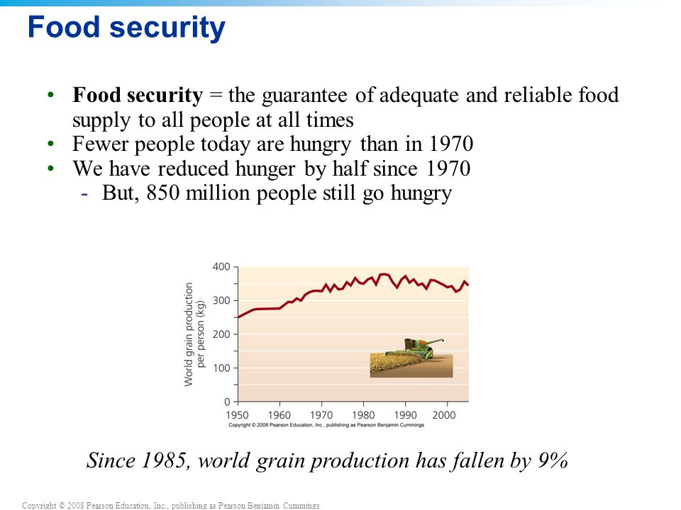 Food security Food security = the guarantee of adequate and reliable food supply to all people at all times.