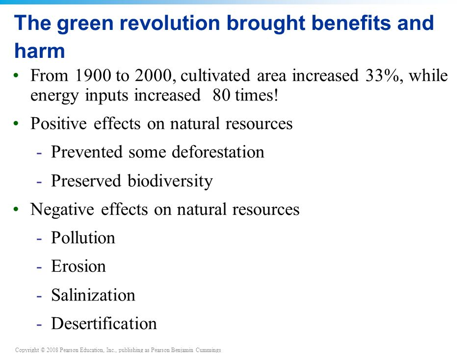 The green revolution brought benefits and harm