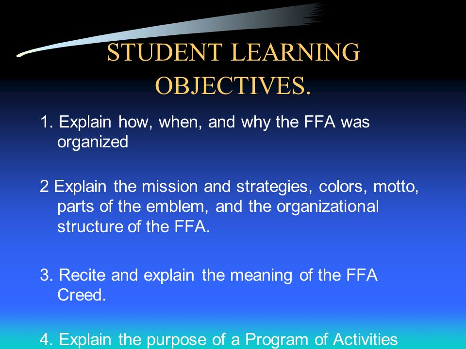 STUDENT LEARNING OBJECTIVES.