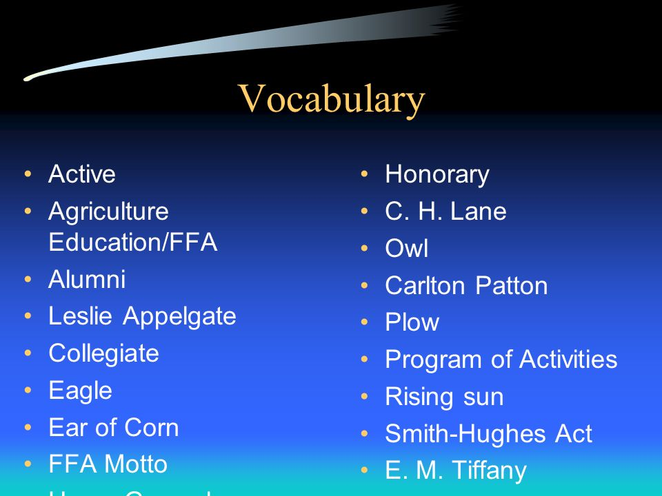 Vocabulary Active Agriculture Education/FFA Alumni Leslie Appelgate