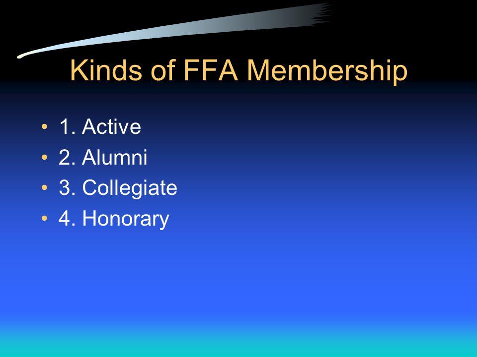 Kinds of FFA Membership